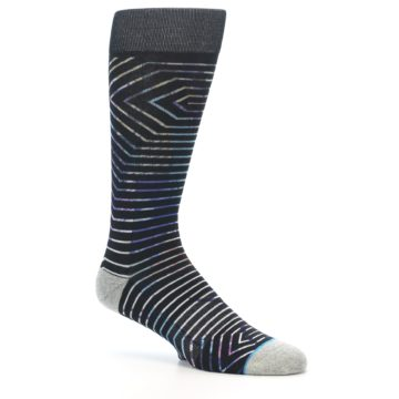 Image of Black Multi-Color Stripe Men's Casual Socks (side-1-26)