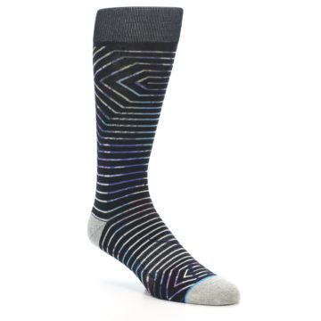 Image of Black Multi-Color Stripe Men's Casual Socks (side-1-27)