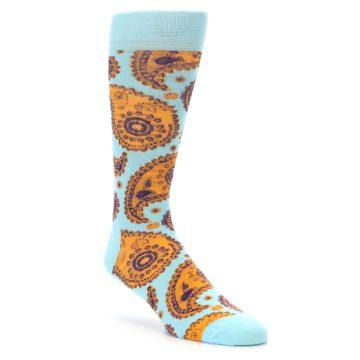 Image of Light Blue Purple Orange Paisley Men's Dress Socks (side-1-front-01)