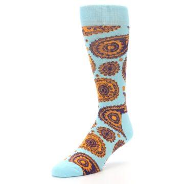 Image of Light Blue Purple Orange Paisley Men's Dress Socks (side-2-front-08)
