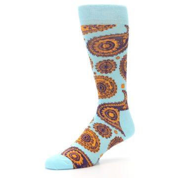 Image of Light Blue Purple Orange Paisley Men's Dress Socks (side-2-09)