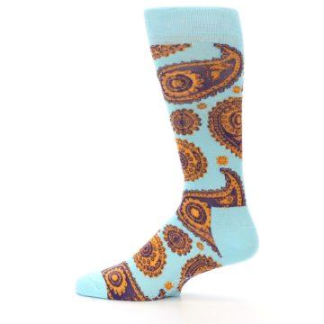 Image of Light Blue Purple Orange Paisley Men's Dress Socks (side-2-12)