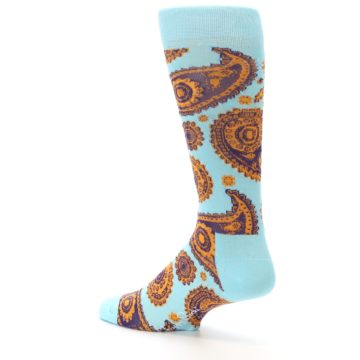 Image of Light Blue Purple Orange Paisley Men's Dress Socks (side-2-back-14)