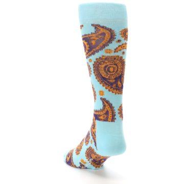 Image of Light Blue Purple Orange Paisley Men's Dress Socks (side-2-back-16)