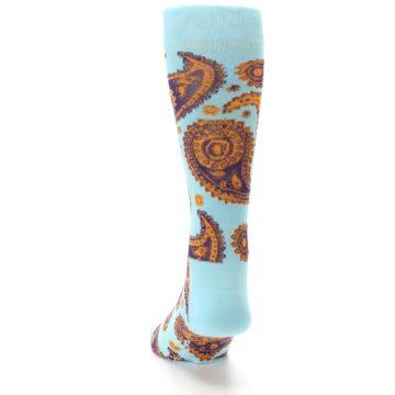 Image of Light Blue Purple Orange Paisley Men's Dress Socks (back-17)