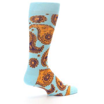 Image of Light Blue Purple Orange Paisley Men's Dress Socks (side-1-23)