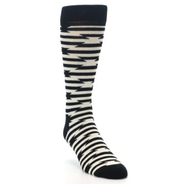 Image of Black and White Barbwire Stripe Men's Dress Socks (side-1-front-02)