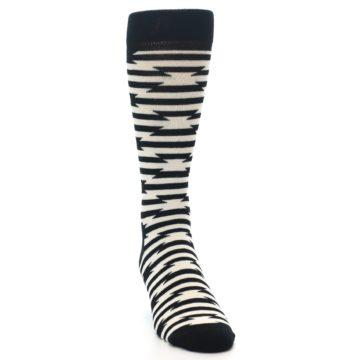 Image of Black and White Barbwire Stripe Men's Dress Socks (side-1-front-03)