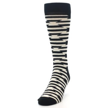 Image of Black and White Barbwire Stripe Men's Dress Socks (side-2-front-06)