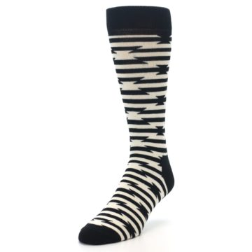 Image of Black and White Barbwire Stripe Men's Dress Socks (side-2-front-07)