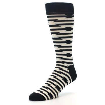 Image of Black and White Barbwire Stripe Men's Dress Socks (side-2-front-08)
