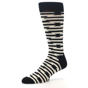 Image of Black and White Barbwire Stripe Men's Dress Socks (side-2-09)