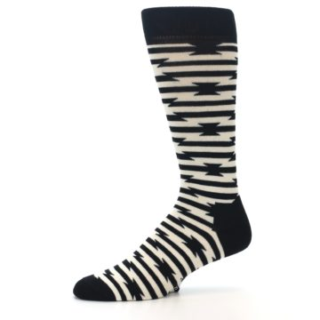 Image of Black and White Barbwire Stripe Men's Dress Socks (side-2-10)