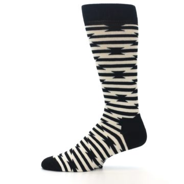 Image of Black and White Barbwire Stripe Men's Dress Socks (side-2-11)