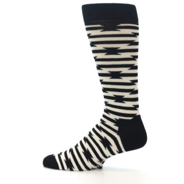 Image of Black and White Barbwire Stripe Men's Dress Socks (side-2-12)
