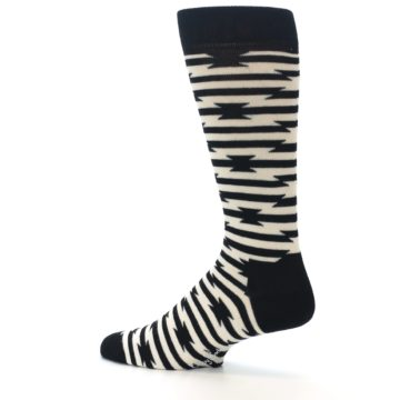 Image of Black and White Barbwire Stripe Men's Dress Socks (side-2-13)