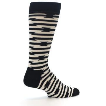 Image of Black and White Barbwire Stripe Men's Dress Socks (side-1-23)