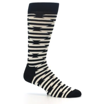 Image of Black and White Barbwire Stripe Men's Dress Socks (side-1-25)