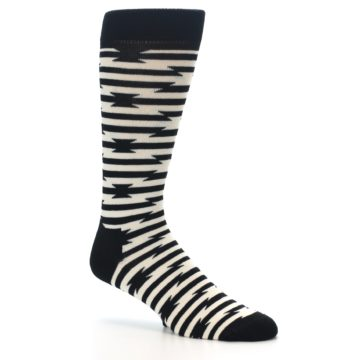 Image of Black and White Barbwire Stripe Men's Dress Socks (side-1-26)