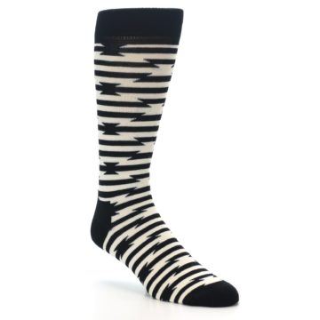 Image of Black and White Barbwire Stripe Men's Dress Socks (side-1-27)