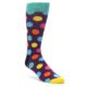 Image of Purple Yellow Multi Color Polka Dot Men's Dress Socks (side-1-front-01)