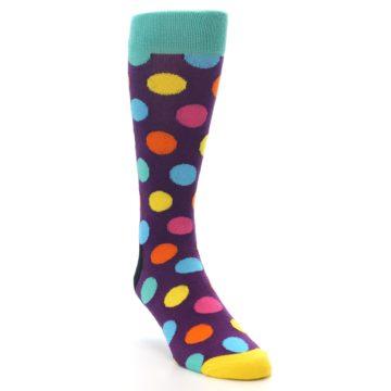 Image of Purple Yellow Multi Color Polka Dot Men's Dress Socks (side-1-front-02)