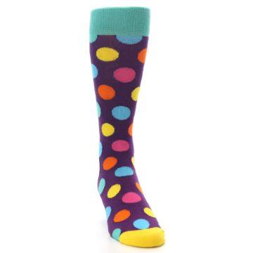 Image of Purple Yellow Multi Color Polka Dot Men's Dress Socks (side-1-front-03)