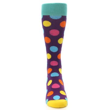 Image of Purple Yellow Multi Color Polka Dot Men's Dress Socks (front-04)