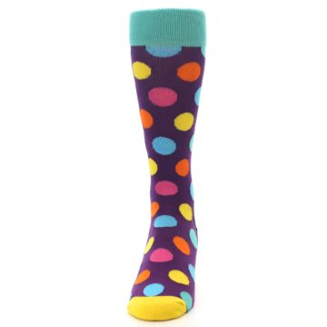 Image of Purple Yellow Multi Color Polka Dot Men's Dress Socks (front-05)
