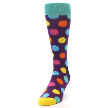 Image of Purple Yellow Multi Color Polka Dot Men's Dress Socks (side-2-front-06)