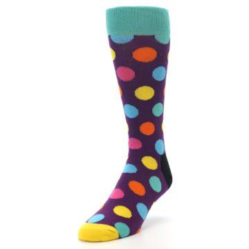 Image of Purple Yellow Multi Color Polka Dot Men's Dress Socks (side-2-front-07)