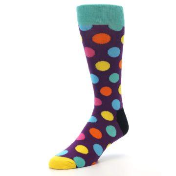 Image of Purple Yellow Multi Color Polka Dot Men's Dress Socks (side-2-front-08)