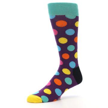 Image of Purple Yellow Multi Color Polka Dot Men's Dress Socks (side-2-09)
