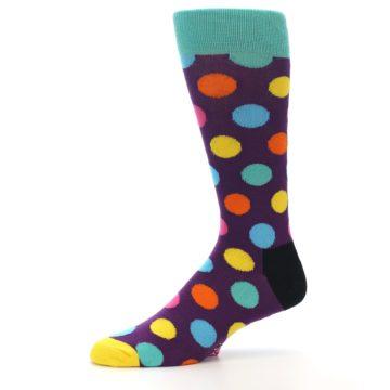 Image of Purple Yellow Multi Color Polka Dot Men's Dress Socks (side-2-10)