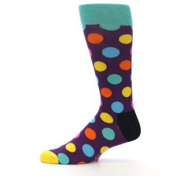 Image of Purple Yellow Multi Color Polka Dot Men's Dress Socks (side-2-11)