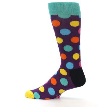 Image of Purple Yellow Multi Color Polka Dot Men's Dress Socks (side-2-12)