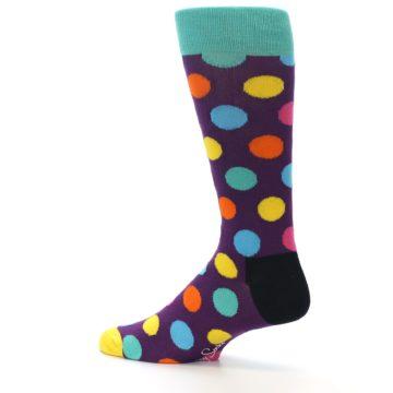 Image of Purple Yellow Multi Color Polka Dot Men's Dress Socks (side-2-13)