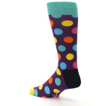 Image of Purple Yellow Multi Color Polka Dot Men's Dress Socks (side-2-back-14)