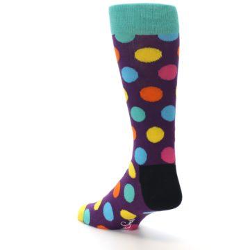 Image of Purple Yellow Multi Color Polka Dot Men's Dress Socks (side-2-back-15)