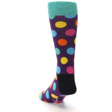 Image of Purple Yellow Multi Color Polka Dot Men's Dress Socks (side-2-back-16)