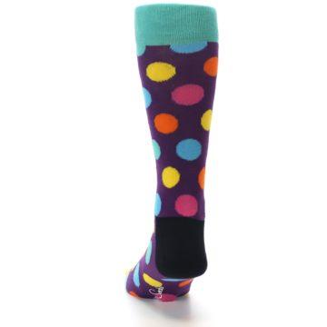 Image of Purple Yellow Multi Color Polka Dot Men's Dress Socks (back-17)