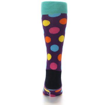 Image of Purple Yellow Multi Color Polka Dot Men's Dress Socks (back-18)