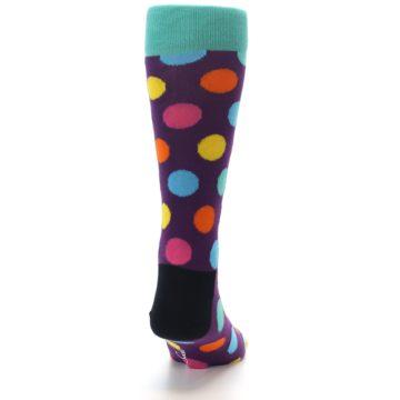Image of Purple Yellow Multi Color Polka Dot Men's Dress Socks (back-19)