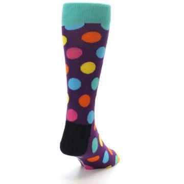 Image of Purple Yellow Multi Color Polka Dot Men's Dress Socks (side-1-back-20)
