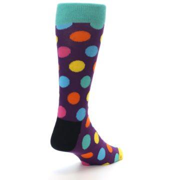 Image of Purple Yellow Multi Color Polka Dot Men's Dress Socks (side-1-back-21)