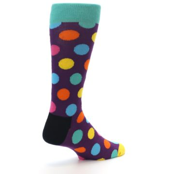 Image of Purple Yellow Multi Color Polka Dot Men's Dress Socks (side-1-back-22)
