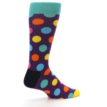Image of Purple Yellow Multi Color Polka Dot Men's Dress Socks (side-1-23)