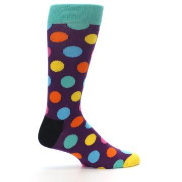 Image of Purple Yellow Multi Color Polka Dot Men's Dress Socks (side-1-24)