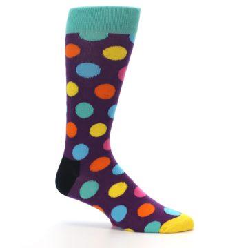 Image of Purple Yellow Multi Color Polka Dot Men's Dress Socks (side-1-25)