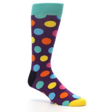 Image of Purple Yellow Multi Color Polka Dot Men's Dress Socks (side-1-26)
